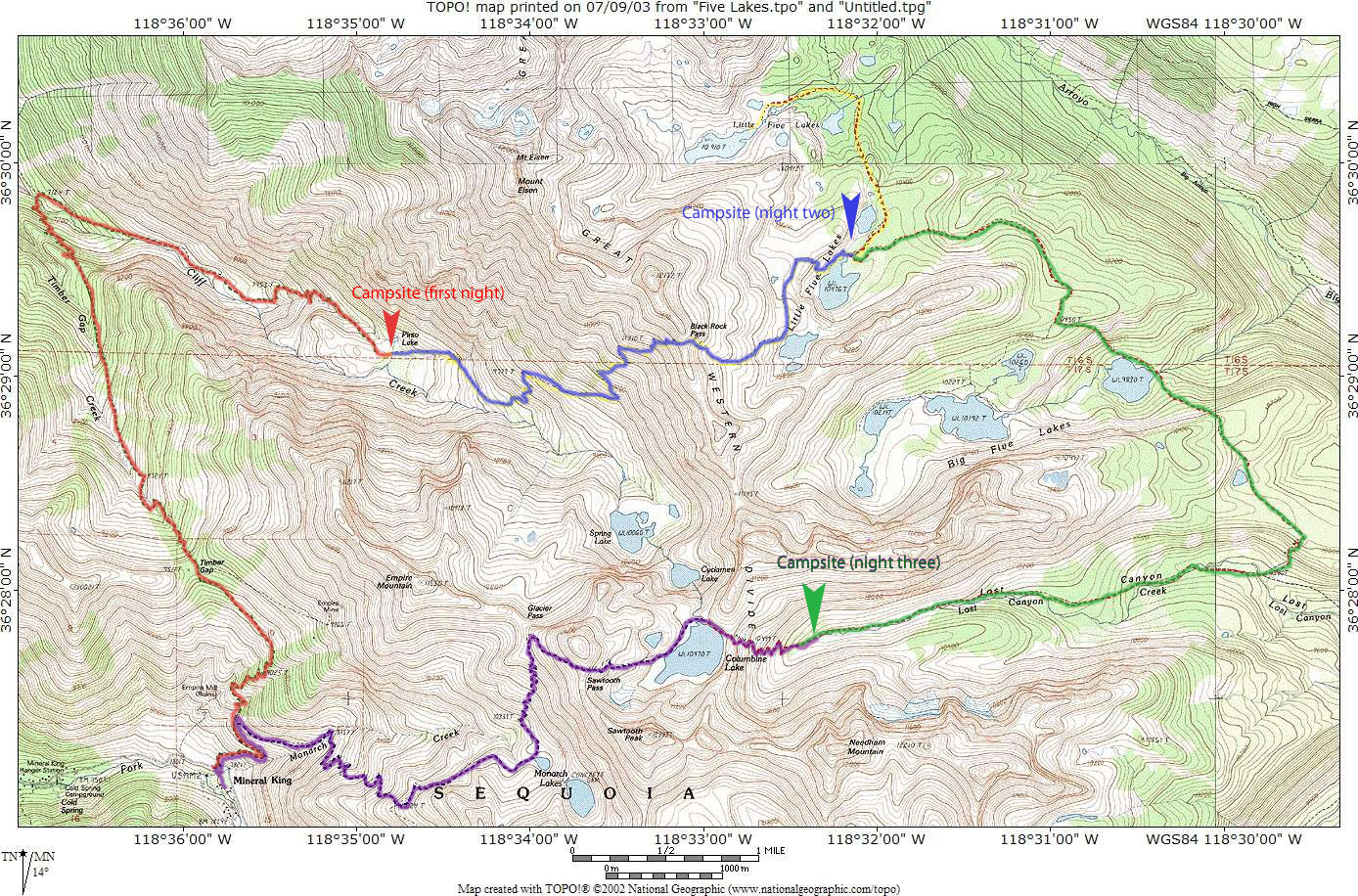 Kings canyon and sequoia trail map